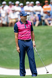 August 9, 2018 - St. Louis, MO, U.S. - ST. LOUIS, MO - AUGUST 09:  Sergio Garcia (ESP) lines up a putt on the fourth green during Round 1 of the PGA Championship August 9, 2018, at Bellerive Country Club in St. Louis, MO.  (Photo by Tim Spyers/Icon Sportswire) (Credit Image: © Tim Spyers/Icon SMI via ZUMA Press)
