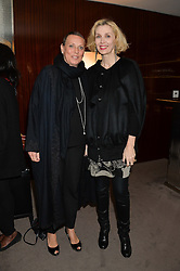 "Left to right, SARA CARELLO and ALLEGRA HICKS at a private screening Of ""The Gun, The Cake and The Butterfly"" hosted by Amanda Eliasch at The Bulgari Hotel, 171 Knightsbridge, London on 24th March 2014."