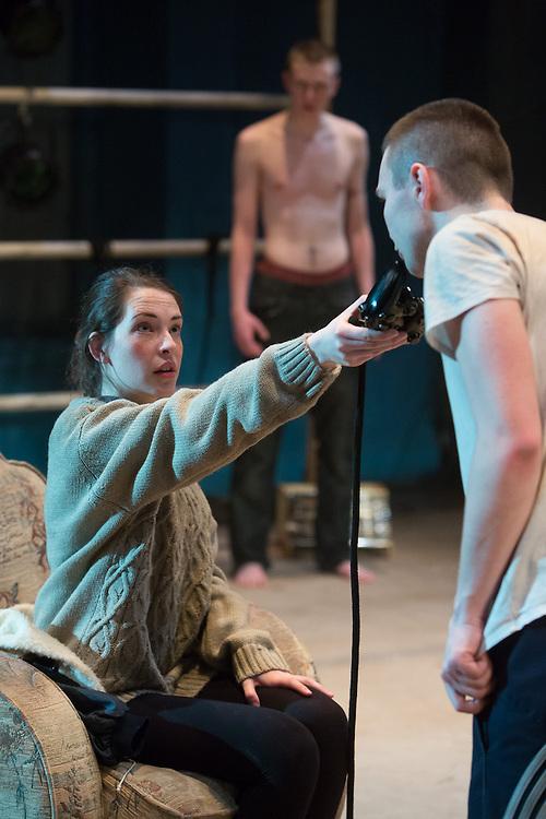 World Premiere Royal Exchange Theatre production of Yen by ANNA JORDAN.  Directed by Ned Bennett. Cast: Alex Austin, Sian Breckin, Jake Davies, Annes Elwy