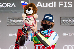Mario Odermatt (SUI) during trophy ceremony at the Audi FIS Alpine Ski World Cup Men's Giant Slalom at 60th Vitranc Cup 2021 on March 13, 2021 in Podkoren, Kranjska Gora, Slovenia Photo by Grega Valancic / Sportida