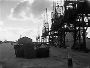 13/02/1958<br /> 02/13/1958<br /> 13 February 1958<br /> Docks strike: Dublin Port and Alexandra Basin Dock Strike. The usually bustling docks lie silent.