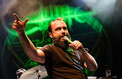 © Licensed to London News Pictures. 22/01/2013. London, UK.   Neil Fallon of Clutch performing live at KOKO for a one-off London date as part of their Earth Rocker world tour. Clutch is an American rock band from Germantown, Maryland, formed in 1990. Since its formation the band line-up has included Neil Fallon (vocals, rhythm guitar, keyboards), Tim Sult (lead guitar, backing vocals), Dan Maines (bass, backing vocals) and Jean-Paul Gaster (drums and percussion). To date, Clutch has released nine studio albums, and several rarities and live albums. .Photo credit : Richard Isaac/LNP