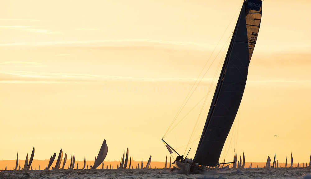 J.P.Morgan Asset Management Round the Island Race 2013.<br /> Picture showing the Artemis IMOCA Open 60 during the round the island race.
