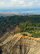 Aerial view of Waimea Canyon, Kauai, Hawaii on a cloudy day.