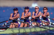 Sydney Olympic Games 2000.Penrith Lakes - Penrith - NSW - Australia.GBR W4X Silver Medal winners, semi-final..Left to right: Miriam Batten, Kate Grainger, Gillian Lindsey and Guin Batten. 2000 Olympic Regatta Sydney International Regatta Centre (SIRC) 2000 Olympic Rowing Regatta00085138.tif
