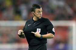 """Referee Tony Harrington during the Carabao Cup, Second Round match at Bramall Lane, Sheffield. PRESS ASSOCIATION Photo. Picture date: Tuesday August 22, 2017. See PA story SOCCER Sheff Utd. Photo credit should read: Tim Goode/PA Wire. RESTRICTIONS: EDITORIAL USE ONLY No use with unauthorised audio, video, data, fixture lists, club/league logos or """"live"""" services. Online in-match use limited to 75 images, no video emulation. No use in betting, games or single club/league/player publications."""
