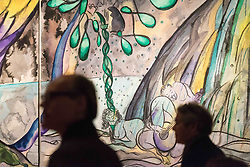April 25, 2017 - London, London, UK - London, UK. Visitors view Turner prize-winning artist CHRIS OFILI new tapestry titled The Caged Bird's Song.  The tapestry is part of the Weaving Magic exhibition showing at the National Gallery. (Credit Image: © Ray Tang/London News Pictures via ZUMA Wire)