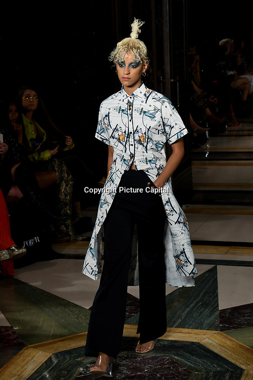 Designer Three Fifty Nine showcases is latest collection at Fashion Scout - SS19 at Freemasons Hall, London, UK. 14 September 2018.