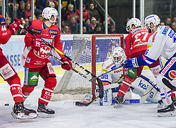 28.12.2018, Stadthalle, Klagenfurt, AUT, EBEL, EC KAC vs EC VSV, 32. Runde, im Bild Johannes BISCHOFBERGER (EC KAC, #46), Dan Bakala (EC Panaceo VSV, #39), Thomas HUNDERTPFUND (EC KAC, #27), MacGregor Sharp (EC Panaceo VSV, #16) // during the Erste Bank Eishockey League 32th round match between EC KAC and EC VSV at the Stadthalle in Klagenfurt, Austria on 2018/12/28. EXPA Pictures © 2018, PhotoCredit: EXPA/ Gert Steinthaler