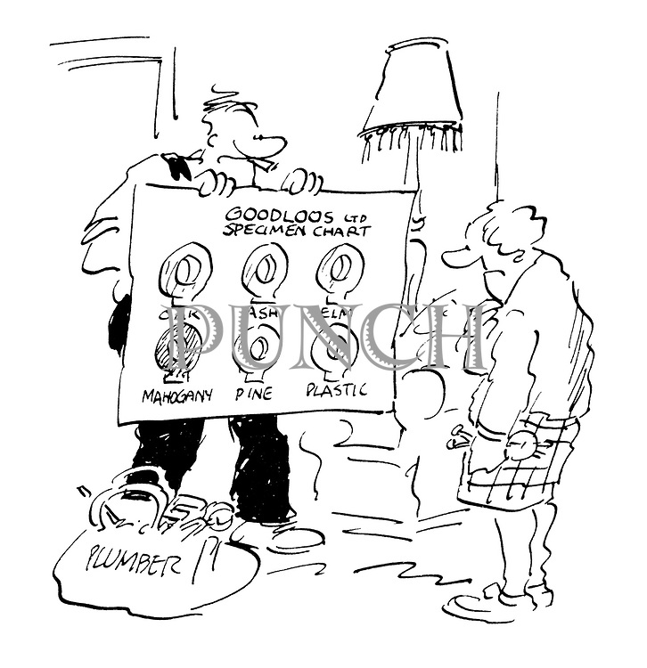 (A plumber shows an elderly lady a chart with a range of different toilet seats)