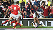 Twickenham. Great Britain.<br /> Antong WATSON, touches down to score the opening try, during the<br /> RBS Six Nations Rugby, England vs Wales at the RFU Twickenham Stadium. England.<br /> <br /> Saturday  12/03/2016 <br /> <br /> [Mandatory Credit; Peter Spurrier/Intersport-images]
