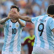 FOXBOROUGH, MASSACHUSETTS - JUNE 18:  Lionel Messi #10 of Argentina and Gonzalo Higuain #9 of Argentina high five after a play in action during the Argentina Vs Venezuela Quarterfinal match of the Copa America Centenario USA 2016 Tournament at Gillette Stadium on June 18, 2016 in Foxborough, Massachusetts. (Photo by Tim Clayton/Corbis via Getty Images)