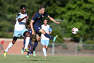 24 May 2014: USA Under-20's Andrija Novakovich (right) and Wilmington's Jason Watson (left). The Under-20 United States Men's National Team played a scrimmage against the Wilmington Hammerheads at Dail Soccer Field in Raleigh, North Carolina. Wilmington won the game 4-2.