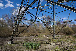 Denham, UK. 6th April, 2021. Part of a large area cleared of trees and vegetation for electricity pylon relocation works connected to the HS2 high-speed rail link. Thousands of trees have already been felled in the Colne Valley where HS2 works will include the construction of a Colne Valley Viaduct across lakes and waterways and electricity pylon relocation.