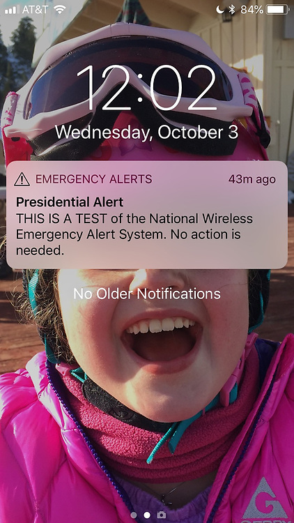 October 3, 2018 - San Clemente, California, US - ''Presidential Alert,'' the screen said. ''THIS IS A TEST of the National Wireless Emergency Alert System. No action is needed.''.It's the first nationwide test of the system built by the federal government and cell phone carriers to warn Americans of an emergency, like a terror attack or a widespread disaster. (Credit Image: © Ruaridh StewartZUMA Wire)