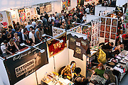 High view of a floor at the 2nd International Tattoo Convention in London on Saturday, Oct. 7, 2006, in London, UK. With over 15.000 visitors in three days during the 2005 edition, the event placed London in a central position in the tattoo world.  This year about 150 artists ,representing all the tattoo styles, are ticking away with their machines in a very exciting atmosphere. **ITALY OUT**....