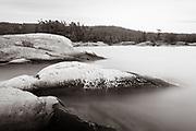 Lichen on the rocks in McGregor Bay, Ontario. A 390-second exposure.