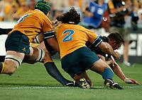 Photo: Steve Holland.<br />New Zealand v Australia. Semi-Final, at the Telstra All Black captain, Reuben Thorne goes over for a try.