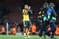 Theo Walcott of Arsenal applauding the Arsenal fans after the final whistle. UEFA Champions league group A match, Arsenal v FC Basel at the Emirates Stadium in London on Wednesday 28th September 2016.<br /> pic by John Patrick Fletcher, Andrew Orchard sports photography.