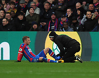 Football - 2019 / 2020 Premier League - Crystal Palace vs. Arsenal<br /> <br /> Max Meyer of Palace receives attention after being fouled by Pierre - Emerick Aubameyang which resulted in a red card after reviewing the VAR at Selhurst Park.<br /> <br /> COLORSPORT/ANDREW COWIE