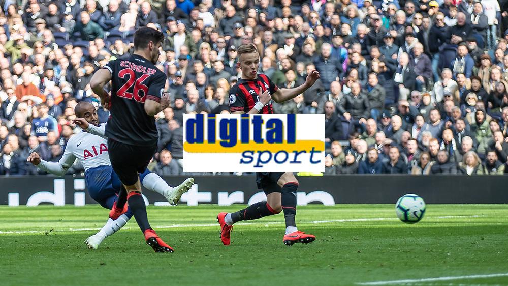 Football - 2018 / 2019 Premier League - Tottenham Hotspur vs. Huddersfield Town<br /> <br /> Lucas Moura (Tottenham FC) scores his second goal of the game at The Tottenham Hotspur Stadium.<br /> <br /> COLORSPORT/DANIEL BEARHAM