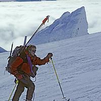 CORD.SARMIENTO, Tyler Van Arsdell (MR) skis to summit of 2nd highest peak in Patagonian range (Chile).