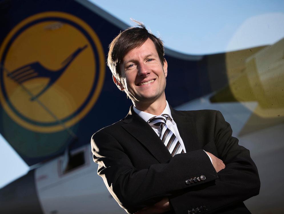 Lufthansa Aberdeen visit, photographs of Christian Schindler at Aberdeen Airport with Lufthansa Jet...Pictured Christian Schindler, Director, Lufthansa UK..(Photo Ross Johnston/Newsline Scotland)