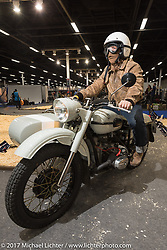 On a custom Ural with sidecar after the Custom and Tuning Show, the custom bike show portion of the big Motor Spring bike show in Moscow, Russia. Sunday April 23, 2017. Photography ©2017 Michael Lichter.