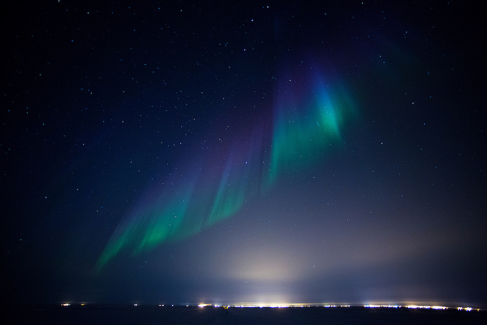 Alaska Northern lights auroa borealis light up the winter sky