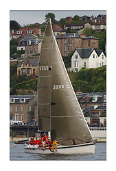 Yachting- The first days racing  of the Bell Lawrie Scottish series 2003 at Gourock.  The wet start looks set to last for the overnight race to Tarbert...John Corson's 'Salamander' a Elan 333 off Gourock Yacht Club. Class Three...Pics Marc Turner / PFM