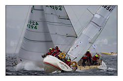 Yachting- The second start of the Bell Lawrie Scottish series 2002 at Inverkip racing to Tarbert Loch Fyne where racing continues over the weekend.<br /><br />The White Tub K4294 passes ahead of Mayrise K8856Y in the Sigma 33s.<br />Pics Marc Turner / PFM