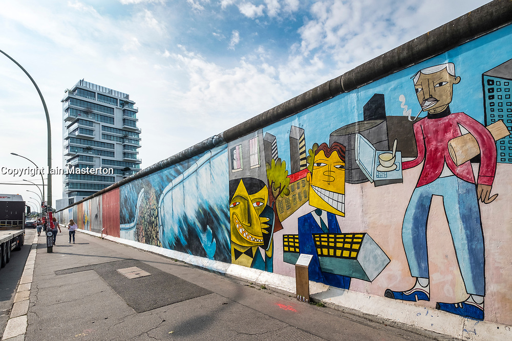 mural painted on original section of Berlin Wall at East Side gallery in Berlin, Germany ...Editorial Use Only