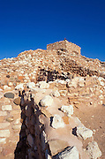 Morning light on pueblo rooms and watch tower (Sinagua Indians), Tuzigoot National Monument, Arizona.