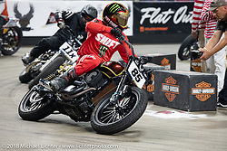 Hooligan Buddy Suttle races through turn one at the Flat Out Friday flat track racing on the Dr. Pepper-covered track in the UW-Milwaukee Panther Arena during the Harley-Davidson 115th Anniversary Celebration event. Milwaukee, WI. USA. Friday August 31, 2018. Photography ©2018 Michael Lichter.