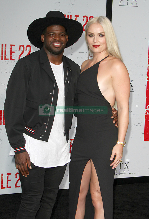 Mille 22 Premiere at The Regency Village Theatre in Westwood, California on 8/9/18. 09 Aug 2018 Pictured: Lindsey Vonn, P.K. Subban. Photo credit: River / MEGA TheMegaAgency.com +1 888 505 6342