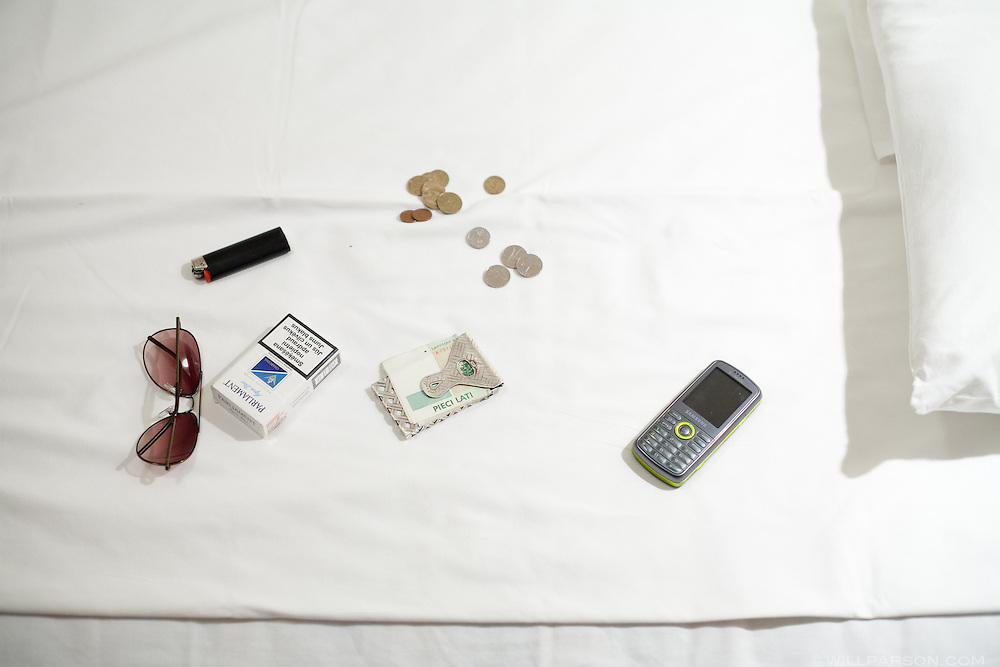 The contents of Ryan's pockets at a hotel in Kaunas, Lithuania.