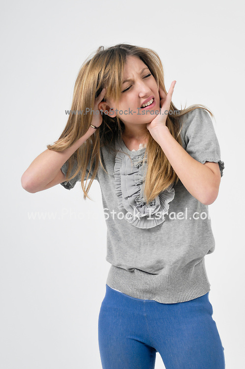 Teen Suffers pain On white Background