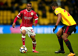 Opi Edwards of Bristol City takes on Marvin Zeegelaar of Watford - Mandatory by-line: Robbie Stephenson/JMP - 06/01/2018 - FOOTBALL - Vicarage Road - Watford, England - Watford v Bristol City - Emirates FA Cup third round proper