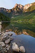 Hope Mountain and Wells Peak are reflected in Silver Lake at Silver Lake Provincial Park in Hope, British Columbia, Canada