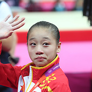 Lu Sui, China, during her Silver Medal performance in the Women's Gymnastics Apparatus Beam final at North Greenwich Arena during the London 2012 Olympic games London, UK. 7th August 2012. Photo Tim Clayton