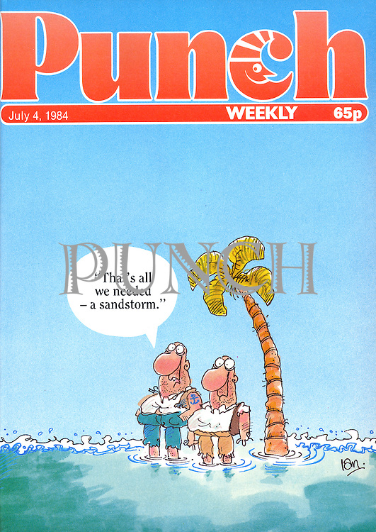 """""""That's all we needed - a sandstorm."""" (front cover, 4 July 1984)"""
