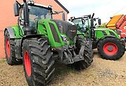 Fendt green tractors on sale at Thurlow Nunn Standen sales forecourt, Melton, Suffolk, England, UK