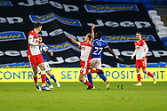 Millwalls's Maikel Kieftenbeld (16) is fouled by Cardiff City's Sheyi Ojo (27) during the EFL Sky Bet Championship match between Cardiff City and Millwall at the Cardiff City Stadium, Cardiff, Wales on 30 January 2021.