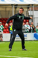 Celtic FC Manager Ronnie Deila doing the Ronnie roar during the Ladbrokes Scottish Premiership match between Hamilton Academical FC and Celtic at New Douglas Park, Hamilton, Scotland on 4 October 2015. Photo by Craig McAllister.