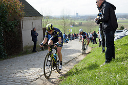 Sarah Roy grits her teeth up the Paterberg climb at Dwars door Vlaanderen 2017. A 114 km road race on March 22nd 2017, from Tielt to Waregem, Belgium. (Photo by Sean Robinson/Velofocus)