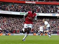 Photo: Olly Greenwood.<br />Arsenal v Tottenham Hotspur. The Barclays Premiership. 02/12/2006. Arsenal's Emmanuel Adebayor celebrates scoring