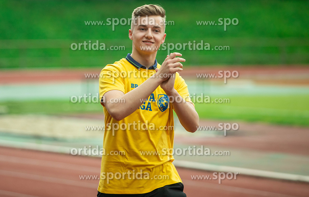 Ziga Jancic during celebration of NK Bravo, winning team in 2nd Slovenian Football League in season 2018/19 after they qualified to Prva Liga, on May 26th, 2019, in Stadium ZAK, Ljubljana, Slovenia. Photo by Vid Ponikvar / Sportida