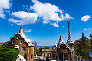 Casa del Guarda, Parc Guell, Barcelona, Catalonia, Spain. A public park design by famed Catalan architect Antoni Gaudi featuring gardens and architectural curiosities.