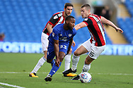 Junior Hoilett of Cardiff city (l) is challenged by Paul Coutts  of Sheffield United. EFL Skybet championship match, Cardiff city v Sheffield Utd at the Cardiff City Stadium in Cardiff, South Wales on Tuesday 15th August 2017.<br /> pic by Andrew Orchard, Andrew Orchard sports photography.