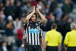 Fabricio Coloccini of Newcastle United celebrates and applauds the supporters after Newcastle win 2-1 to inflict a first defeat in all competitions this season on Chelsea - Photo mandatory by-line: Rogan Thomson/JMP - 07966 386802 -06/12/2014 - SPORT - FOOTBALL - Newcastle, England - St James' Park - Newcastle United v Chelsea - Barclays Premier League.